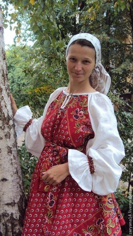 Одежда ручной работы. Ярмарка Мастеров - ручная работа. Купить Блузка по косой с белым рукавом. Handmade. Платье, блузка