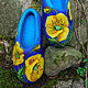 Обувь ручной работы. Заказать Валяные тапочки  «Жёлтые маки». Угринович Ирина. Ярмарка Мастеров. Валные тапочки