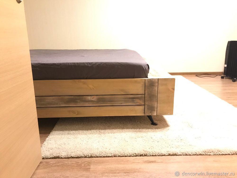 Кровать Лофт двуспальная. Кровать деревянная.Большая кровать лофт, Кровати, Москва,  Фото №1
