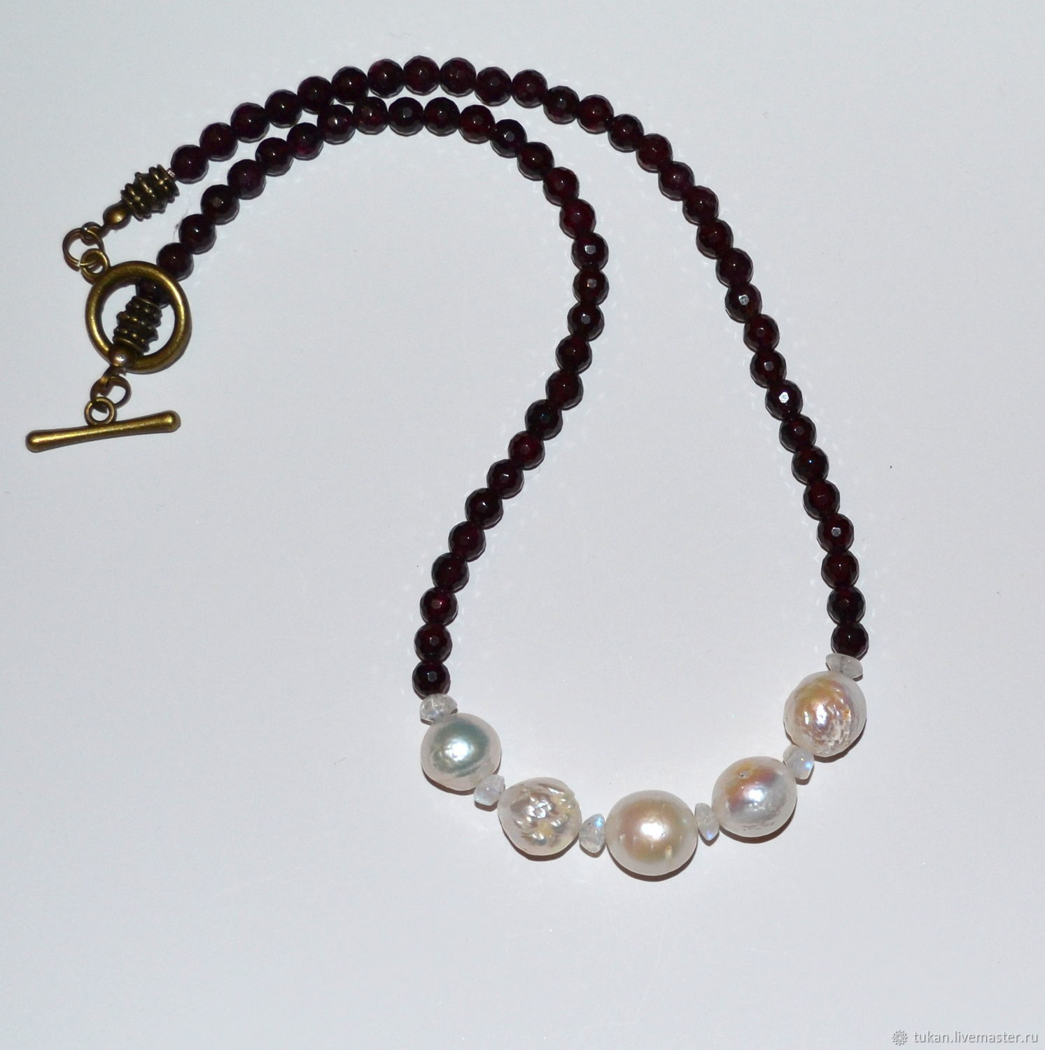 Necklaces & Beads handmade. Livemaster - handmade. Buy Necklace of garnet with pearls.Handmade, garnet necklace
