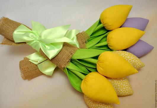 Куклы Тильды ручной работы. Ярмарка Мастеров - ручная работа. Купить Тюльпаны. Букет. Handmade. Желтый, цветы, интерьерные игрушки