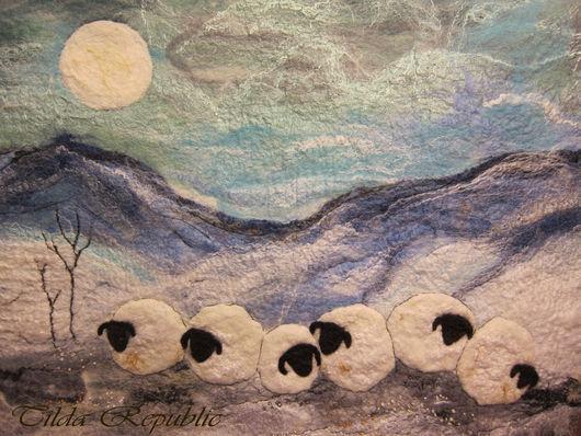 """Пейзаж ручной работы. Ярмарка Мастеров - ручная работа. Купить Картина из шерсти """"Овечки зимой"""". Handmade. Картина, картина из шерсти"""