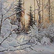Картины и панно ручной работы. Ярмарка Мастеров - ручная работа Картина маслом, зимний пейзаж, Красивая зима. Handmade.