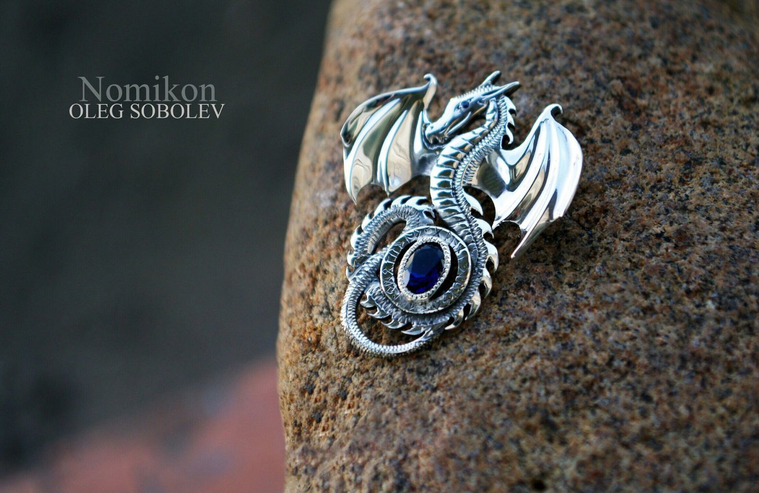 Dragon with sapphire in runic circle (stone at your discretion), Pendants, St. Petersburg,  Фото №1