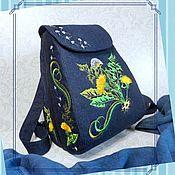 handmade. Livemaster - original item Backpack SP jeans Dandelion Cara. Handmade.