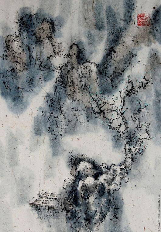 Пейзаж ручной работы. Ярмарка Мастеров - ручная работа. Купить картинаВесна(китайская живопись пейзаж акварель туман вода лодки). Handmade.
