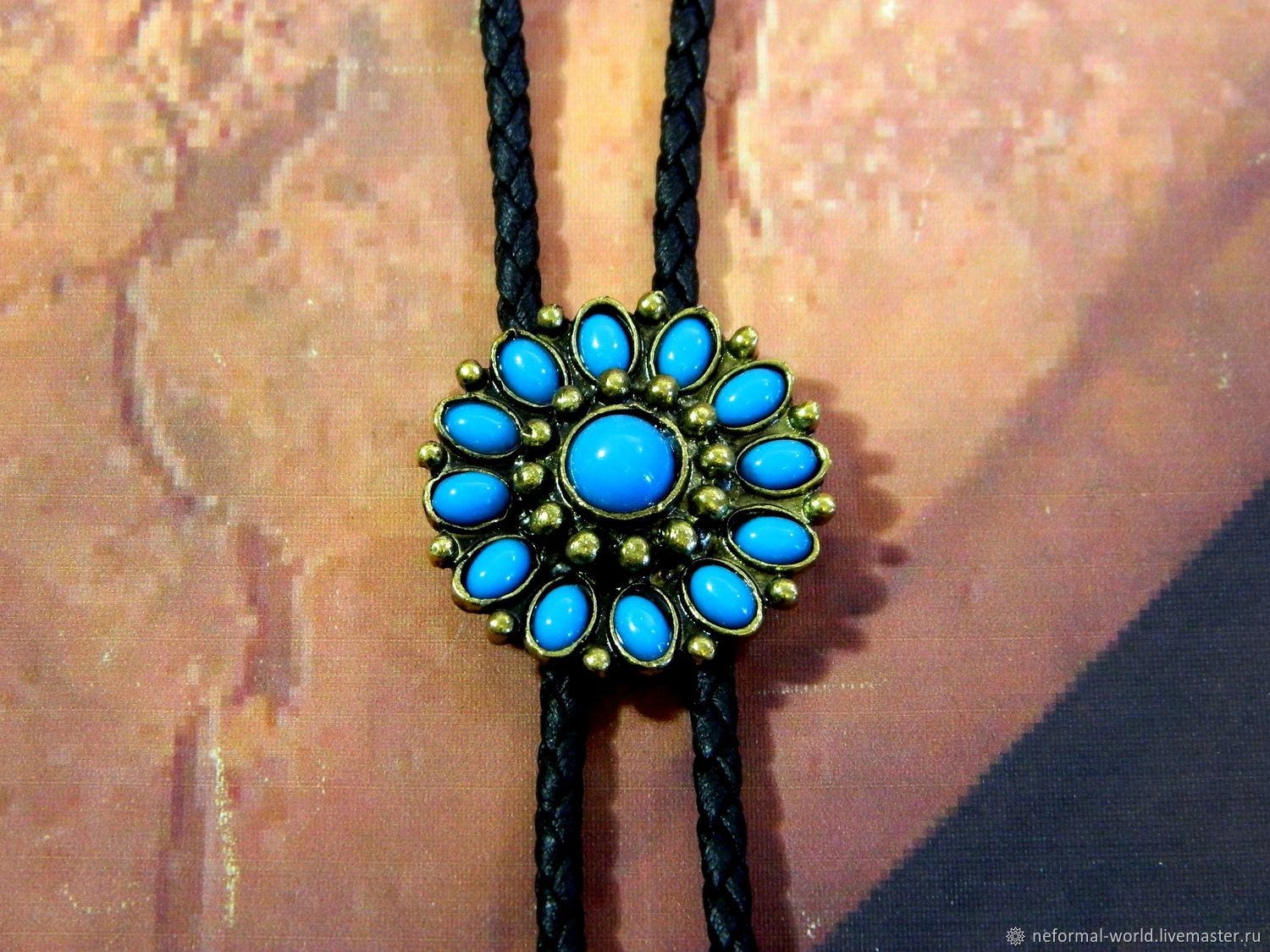 BOLO TIE WITH A BLUE STONE 'FLOWER BLUE' ˈ UNDER BRONZE, Ties, Saratov,  Фото №1