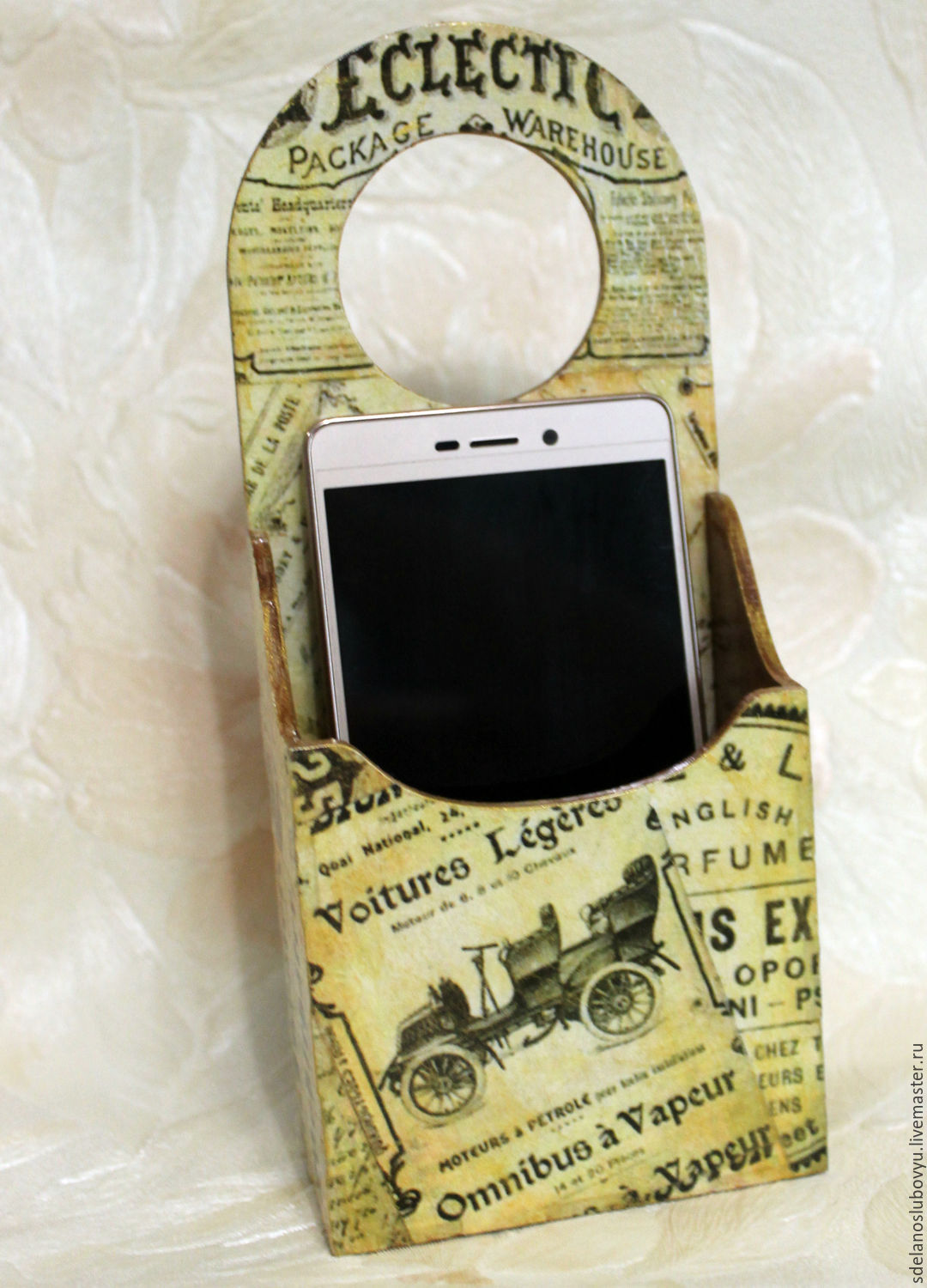 Holder for your phone 'Vintage newspaper' decoupage retro, Baby pacifier, Moscow,  Фото №1