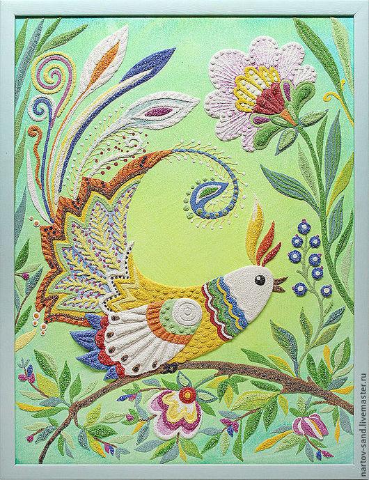 """Детская ручной работы. Ярмарка Мастеров - ручная работа. Купить """"Птица счастья"""" панно из песка. Handmade. Птица счастья"""