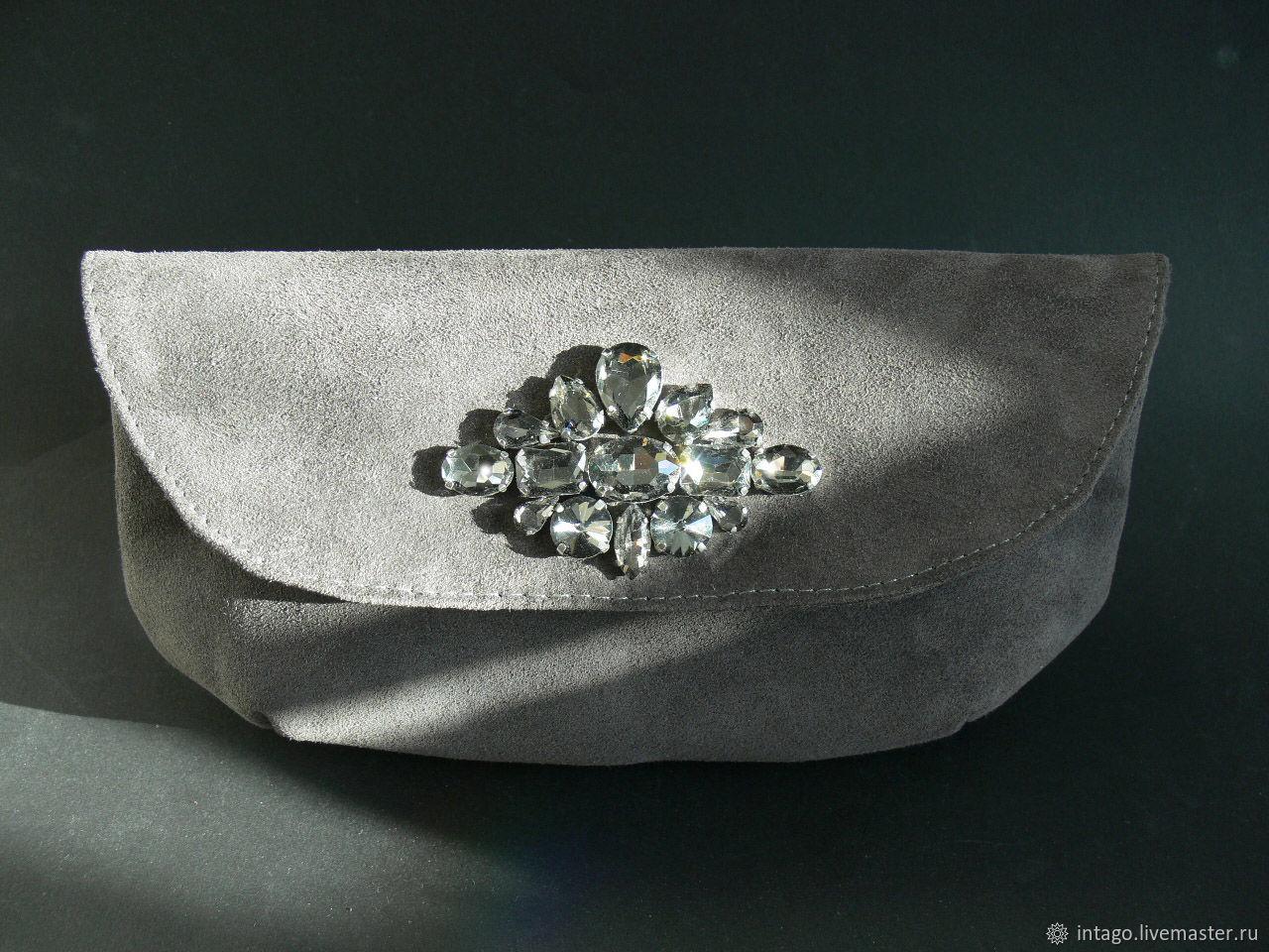 Dark grey suede clutch with rhinestones, Clutches, Novosibirsk,  Фото №1