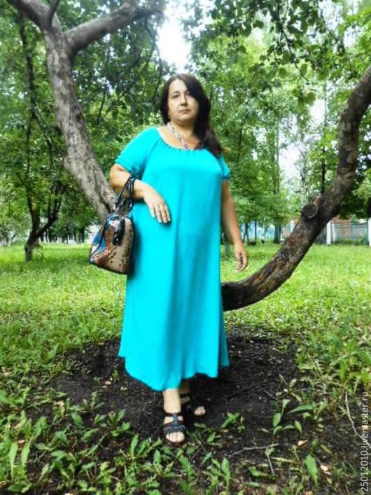 Платья ручной работы. Ярмарка Мастеров - ручная работа. Купить Платье свободное.. Handmade. Бирюзовый, женское платье, изумрудное платье