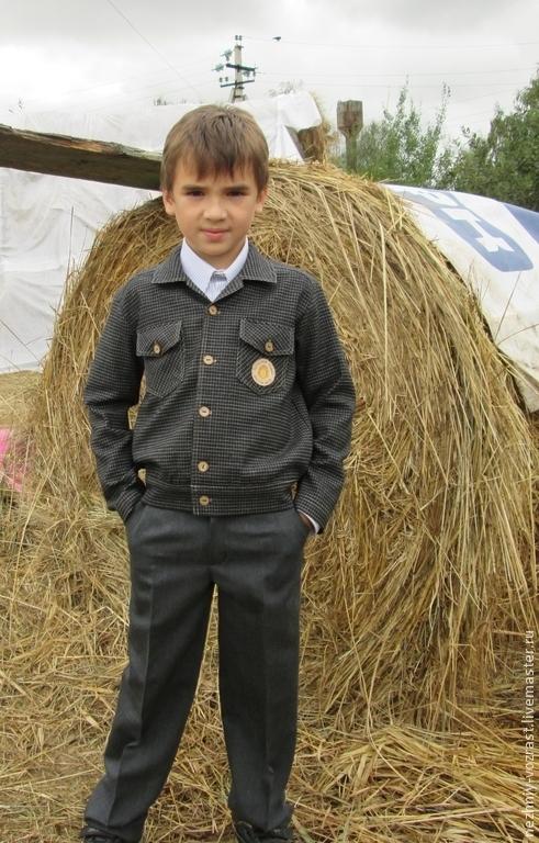 Одежда для мальчиков, ручной работы. Ярмарка Мастеров - ручная работа. Купить Куртка-ковбойка. Handmade. Чёрно-белый, школьная одежда