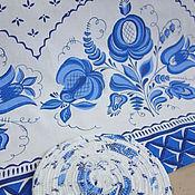 """Для дома и интерьера ручной работы. Ярмарка Мастеров - ручная работа Набор льняной """"Гжель"""". Handmade."""