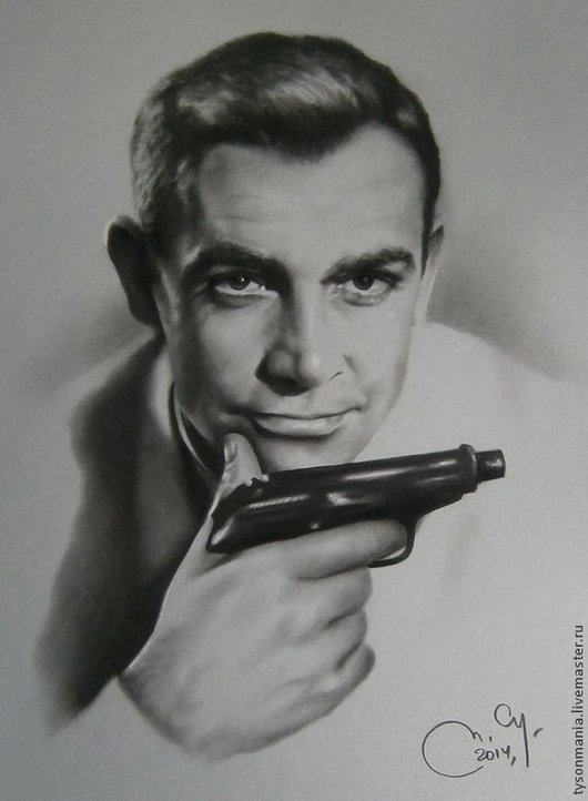Люди, ручной работы. Ярмарка Мастеров - ручная работа. Купить Агент 007. Handmade. Чёрно-белый, портрет на заказ, уголь