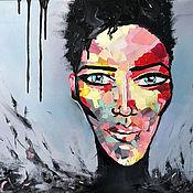 Картины ручной работы. Ярмарка Мастеров - ручная работа Купить Интерьерную картину маслом Абстрактный Портрет Девушка Африка. Handmade.