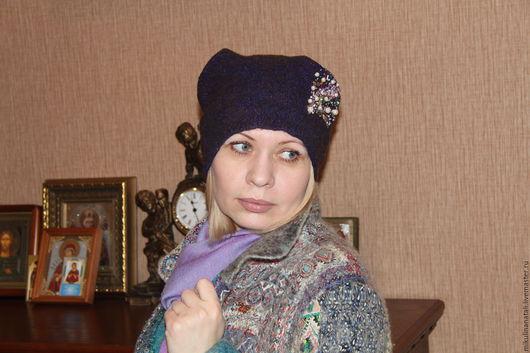 Шапки ручной работы. Ярмарка Мастеров - ручная работа. Купить Валяная шапочка. Handmade. Однотонный, красивая шапочка, бисер