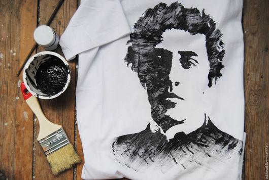 """Для мужчин, ручной работы. Ярмарка Мастеров - ручная работа. Купить Футболка """"Александр Блок"""". Handmade. Белый, Александр Блок"""