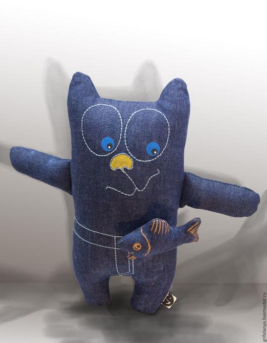 """Игрушки животные, ручной работы. Ярмарка Мастеров - ручная работа. Купить Игрушка-подушка кот """"Джинскик"""". Handmade. Тёмно-синий"""