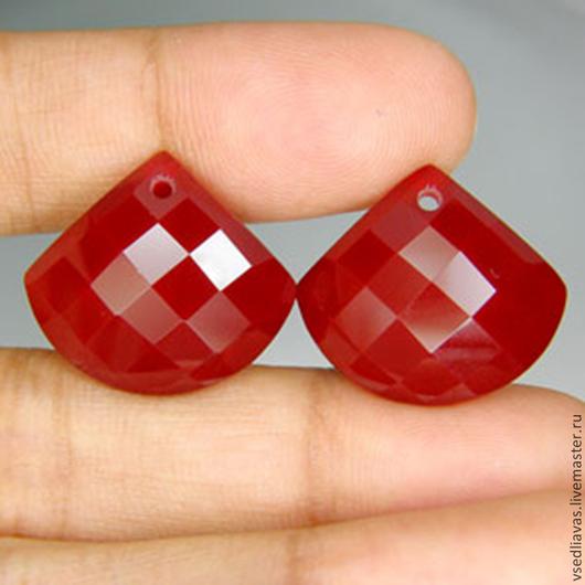 Для украшений ручной работы. Ярмарка Мастеров - ручная работа. Купить пара красных топазов (лаб) 31.60 карат. Handmade.