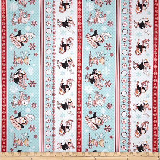 """Шитье ручной работы. Ярмарка Мастеров - ручная работа. Купить Новогодняя ткань """"Пингвинчики бордюры"""" для тильды, пэчворка. Handmade."""