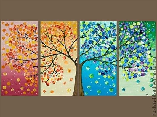 Картины цветов ручной работы. Ярмарка Мастеров - ручная работа. Купить Дерево счастья. Handmade. Тёмно-бирюзовый, картина в подарок
