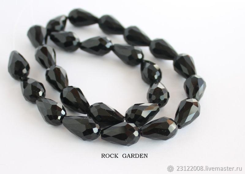 15h9mm zircon drop cut black(117), Beads1, St. Petersburg,  Фото №1