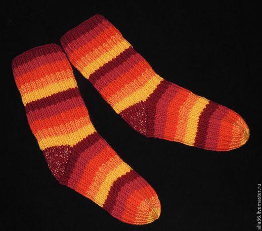 """Носки, Чулки ручной работы. Ярмарка Мастеров - ручная работа. Купить Носочки """"Терракотовая радуга"""". Handmade. Рыжий, теплые носки"""