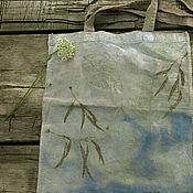 """Сумки и аксессуары ручной работы. Ярмарка Мастеров - ручная работа Эко сумка """"Вода"""", эко принт натуральное крашение. Handmade."""