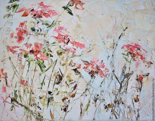 картина масло купить подарок оформление стен картина в гостиную подарок шефу сочные розовые красные гвоздики разноцветные красочные цветы живопись оформление цветочного магазина импасто текстурная кар