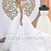 """Свадебный салон ручной работы. Ярмарка Мастеров - ручная работа Свадебное платье """"Нимфа"""" белое, со шлейфом.. Handmade."""