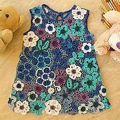Работы для детей, ручной работы. Ярмарка Мастеров - ручная работа Платье для девочки Мои ситцы ирландское кружево детское вязание. Handmade.