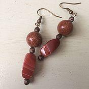 Украшения handmade. Livemaster - original item Earrings with aventurines and carnelian