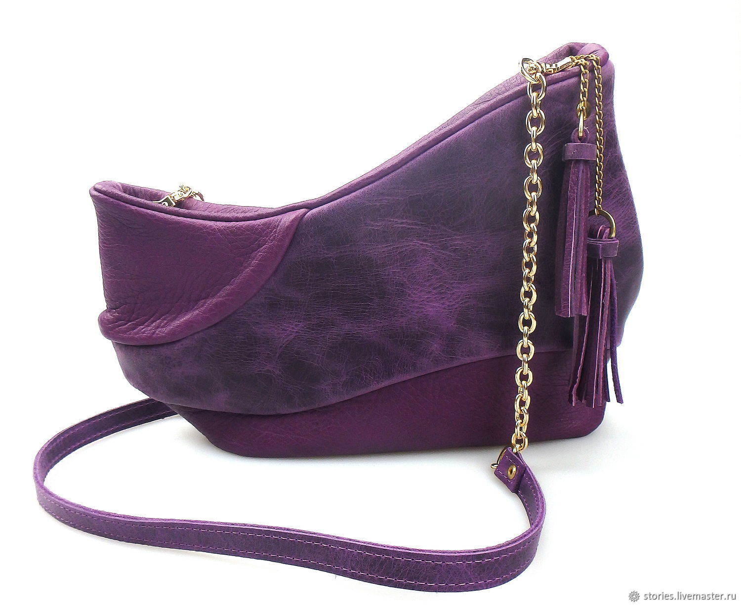 Women's leather bag, clutch leather Boat Violet, women's bag to buy, Clutches, Dubna,  Фото №1
