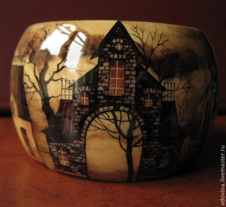 браслет деревянный с росписью Дымный пейзаж, Браслеты, Химки, Фото №1