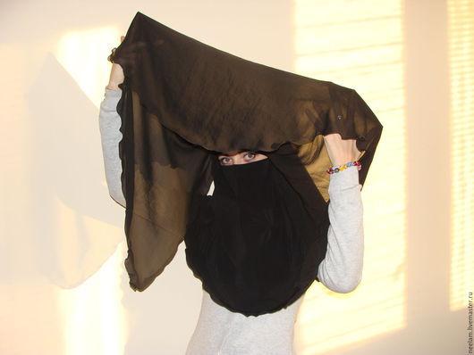 Этническая одежда ручной работы. Ярмарка Мастеров - ручная работа. Купить Никаб с вуалью. Handmade. Однотонный, мусульманская одежда, шифон