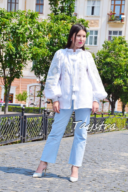 White Blouse Embroidered,Vyshyvanka White Linen Blouse, Dresses, Chernovtsy,  Фото №1