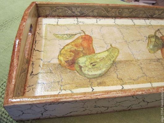 """Кухня ручной работы. Ярмарка Мастеров - ручная работа. Купить Поднос """"Античные груши"""". Handmade. Бежевый, подарок женщине, орнамент"""