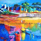 Pictures handmade. Livemaster - original item A coastal village in Brittany. Handmade.