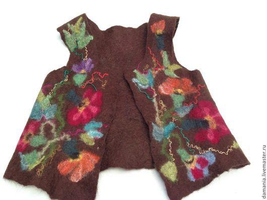 Одежда для девочек, ручной работы. Ярмарка Мастеров - ручная работа. Купить Валяный детский жилет Хохлома. Handmade. Коричневый