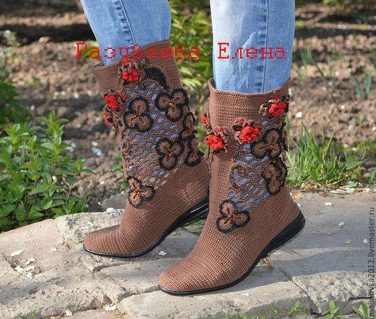 """Обувь ручной работы. Ярмарка Мастеров - ручная работа. Купить сапожки летние """"Катюша"""". Handmade. Коричневый, кожа натуральная, бусины"""