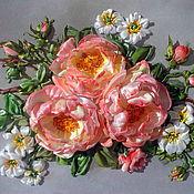 Картины и панно ручной работы. Ярмарка Мастеров - ручная работа Вышивка лентами Картина Три розы. Handmade.