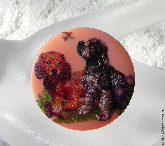 Шитье ручной работы. Ярмарка Мастеров - ручная работа. Купить Чешская пуговица  Щенки 2,богемское стекло,собаки,собачки,питомцы,друг. Handmade.