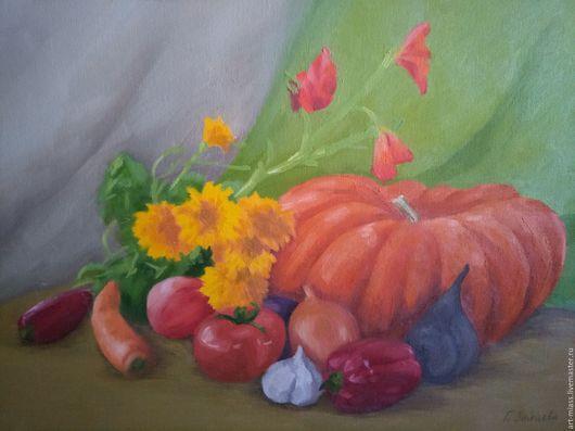 Натюрморт ручной работы. Ярмарка Мастеров - ручная работа. Купить Дары осени. Handmade. Оранжевый, картина маслом, овощи, мастихин