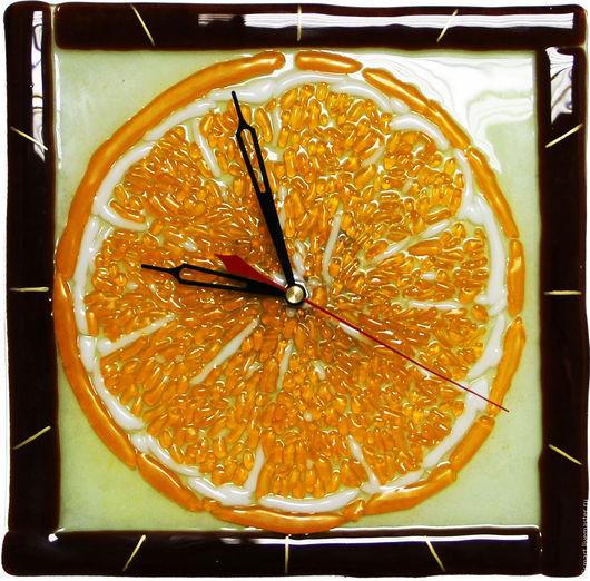 """Часы для дома ручной работы. Ярмарка Мастеров - ручная работа. Купить Фьюзинг - Часы """"Апельсин"""". Handmade. Оранжевый, часы фьюзинг"""