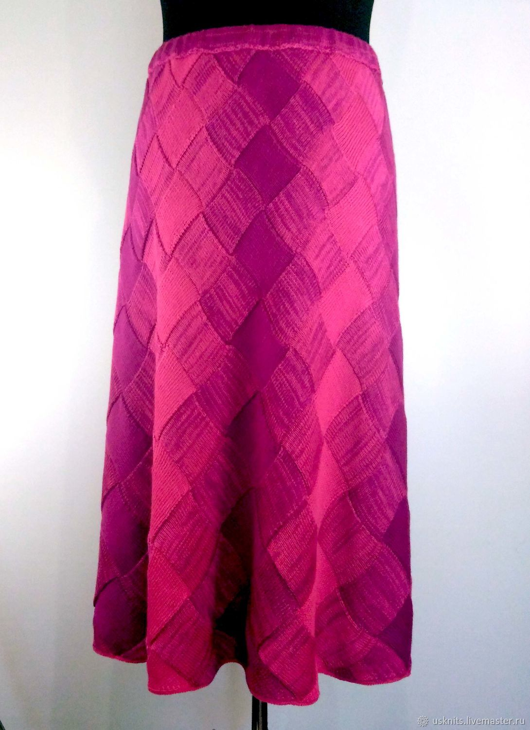 Knitted long skirt in size plus vertical stripes, Skirts, Korolev,  Фото №1