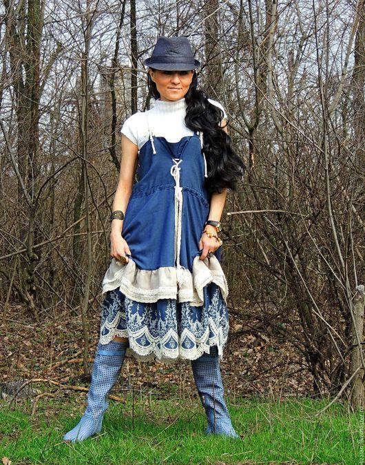 Платья ручной работы. Ярмарка Мастеров - ручная работа. Купить Сарафан БОХО с вышивкой (№78). Handmade. Комбинированный, сарафан из льна