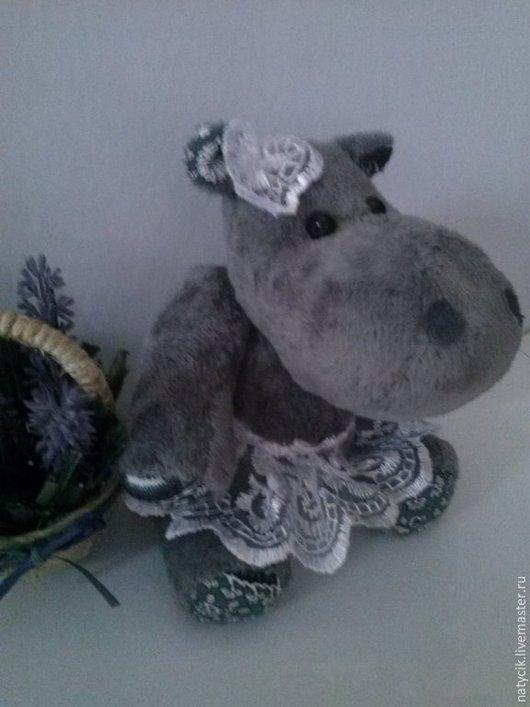 Мишки Тедди ручной работы. Ярмарка Мастеров - ручная работа. Купить бегемотик-Боня. Handmade. Серый, бегемот игрушка, кружево