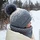 шапочка, шапочка вязаная, снуд, снуд вязаный, шапочка с помпоном, шапка с помпоном, шапка зимняя, комплект зимний