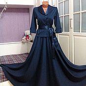 Одежда ручной работы. Ярмарка Мастеров - ручная работа Трикотажное платье-костюм макси Сапфир. Handmade.