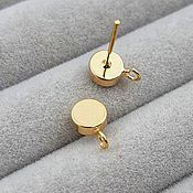 Материалы для творчества handmade. Livemaster - original item Studs stud earrings gold 9h6 mm (3728). Handmade.